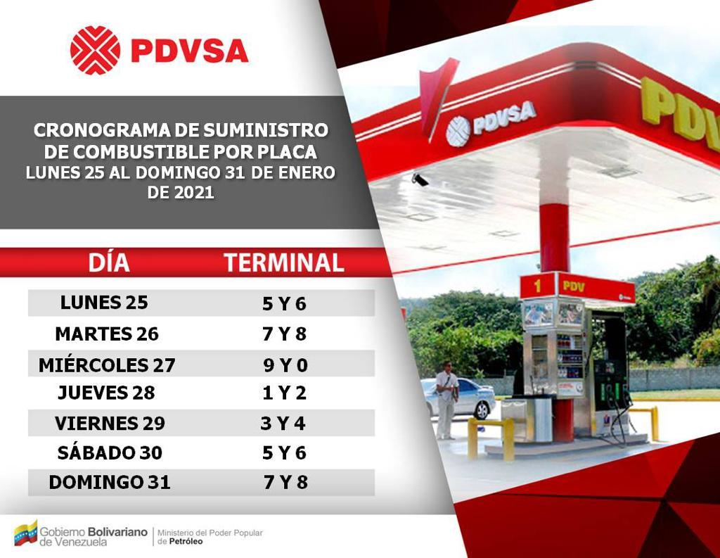 CALENDARIO GASOLINA 25 31 ENERO